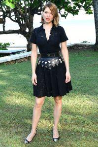 Lea Seydoux in Louis Vuitton al Bond 25 film launch at Ian Fleming's home,Jamaica.