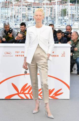 Tilda Swinton in Haider Ackermann al The Dead Don't Die photocall, Cannes Film Festival