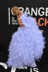 Laverne Cox in Christian Siriano alla Orange is the New Black Season 7 premiere, New York,