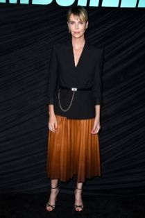 Charlize Theron in GIvenchy al pecial screening of Bombshell.