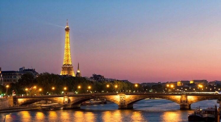 Eiffel Tower and Seine by night