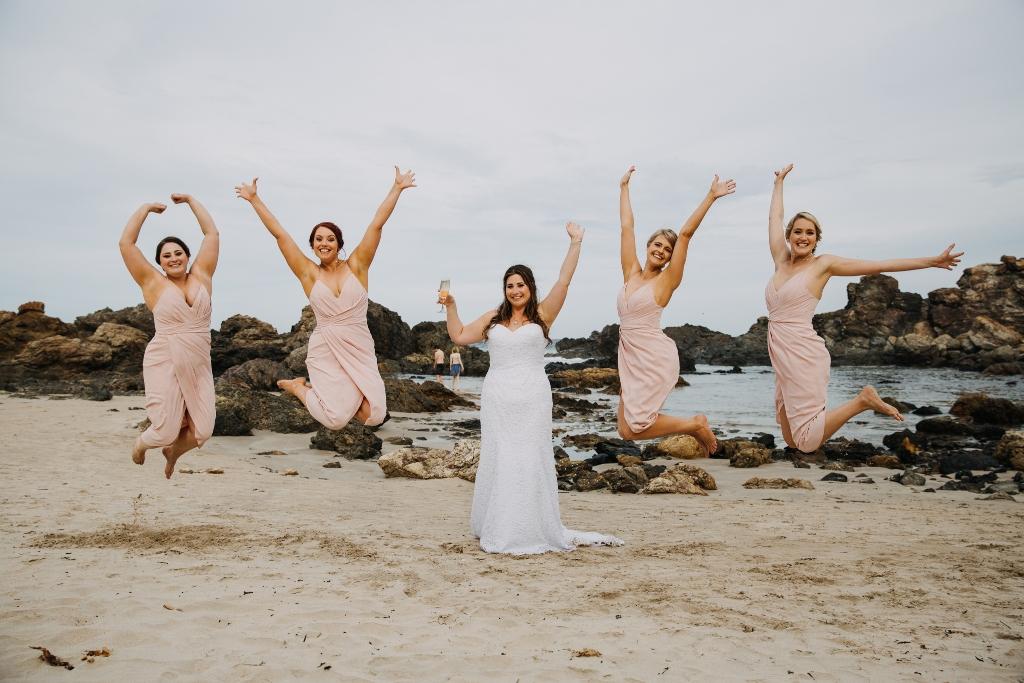 Bridesmaid jumping shot
