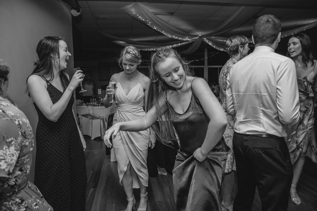 Girls dancing at wedding