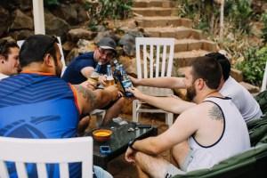 Groomsmen having beers