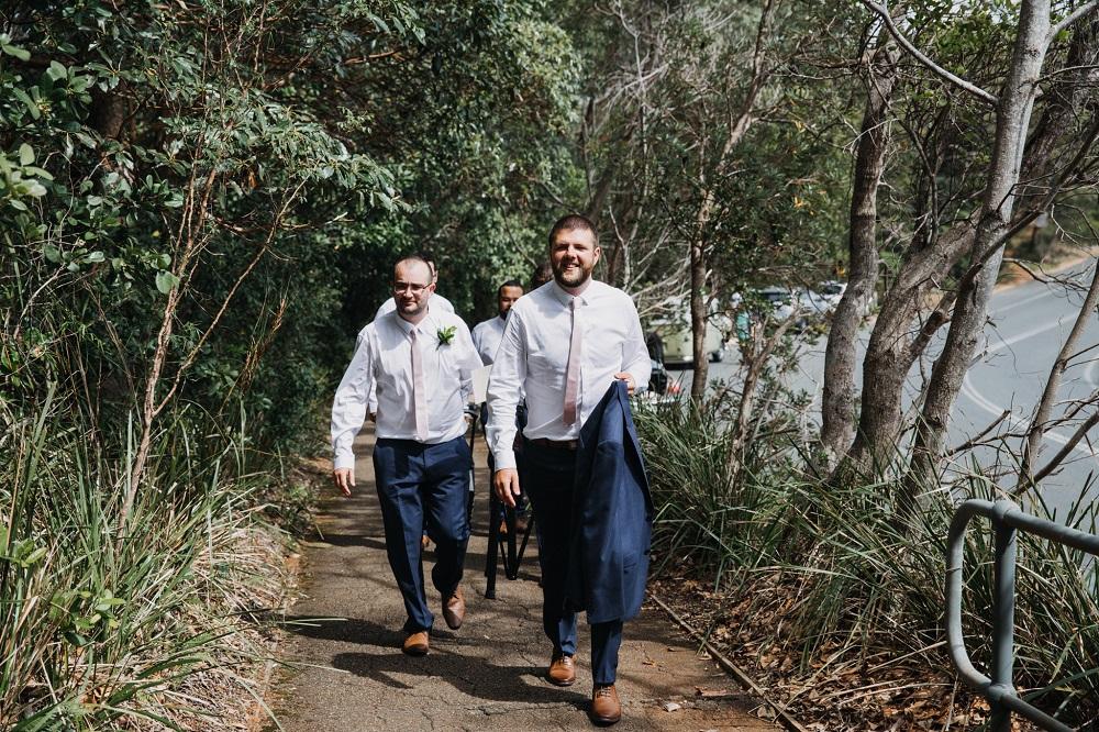 Groomsmen walking to Harry's Lookout