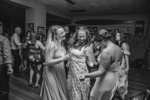 Group of girls dancing at wedding