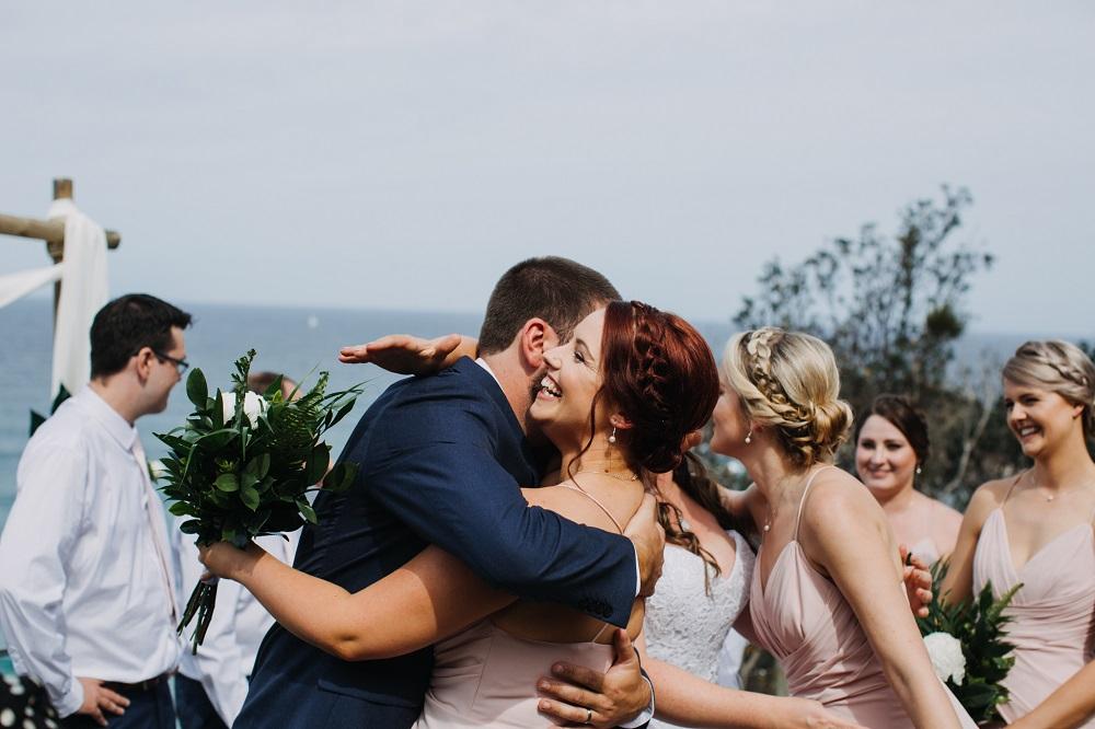 Hugs after wedding