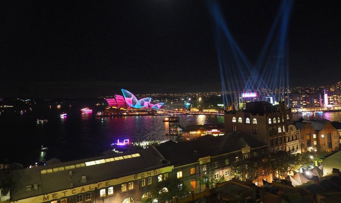 Sydney Vivid from Harbour Bridge