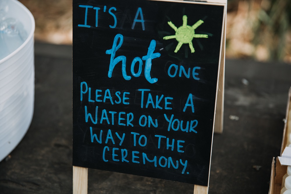 Water for wedding ceremony sign