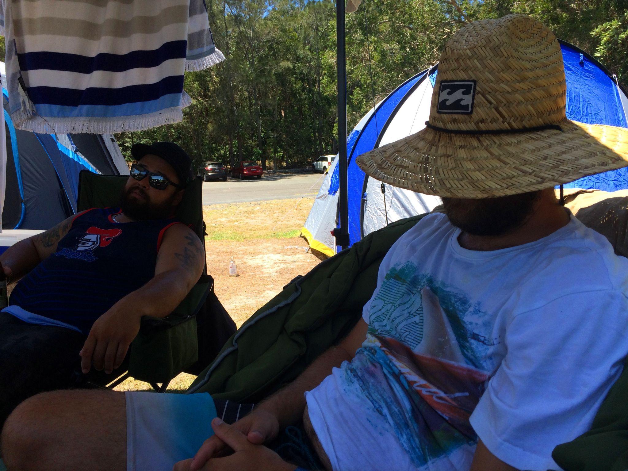 Boys sleeping at Campsite