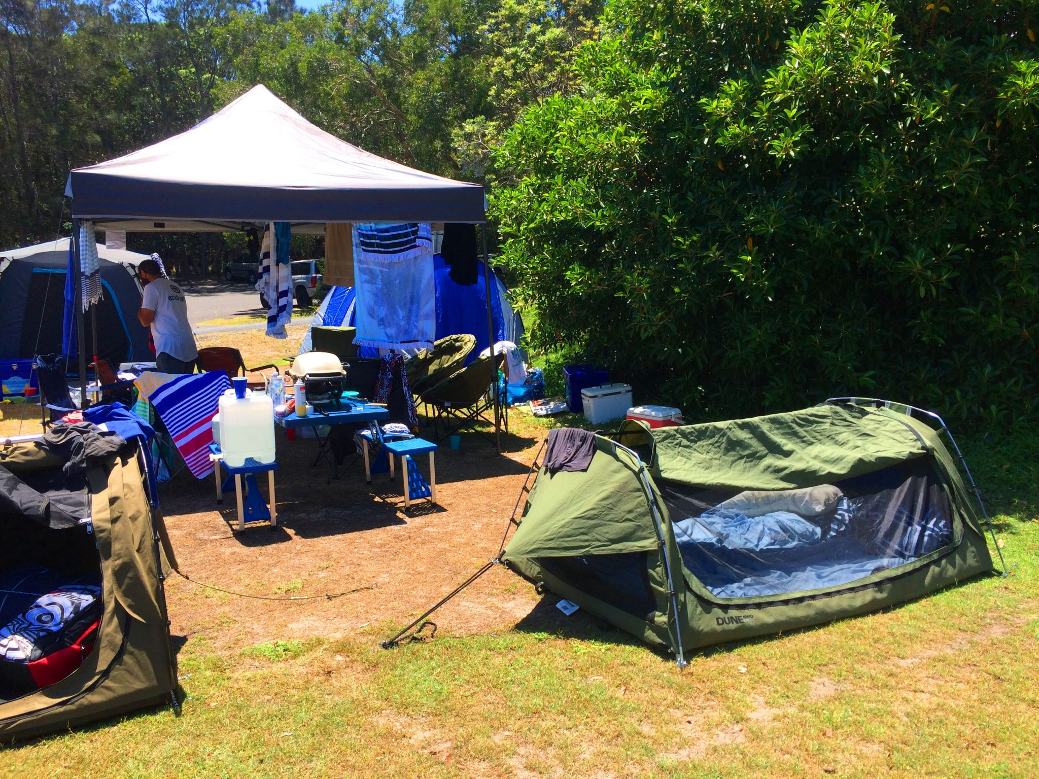 Campsite set up at Trial Bay