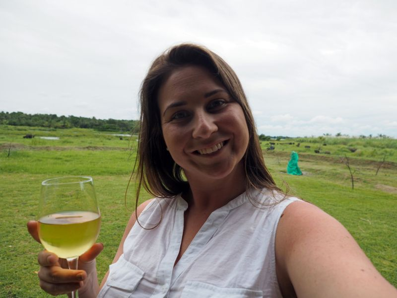 Girl with wine at Master Campers Udawalawe