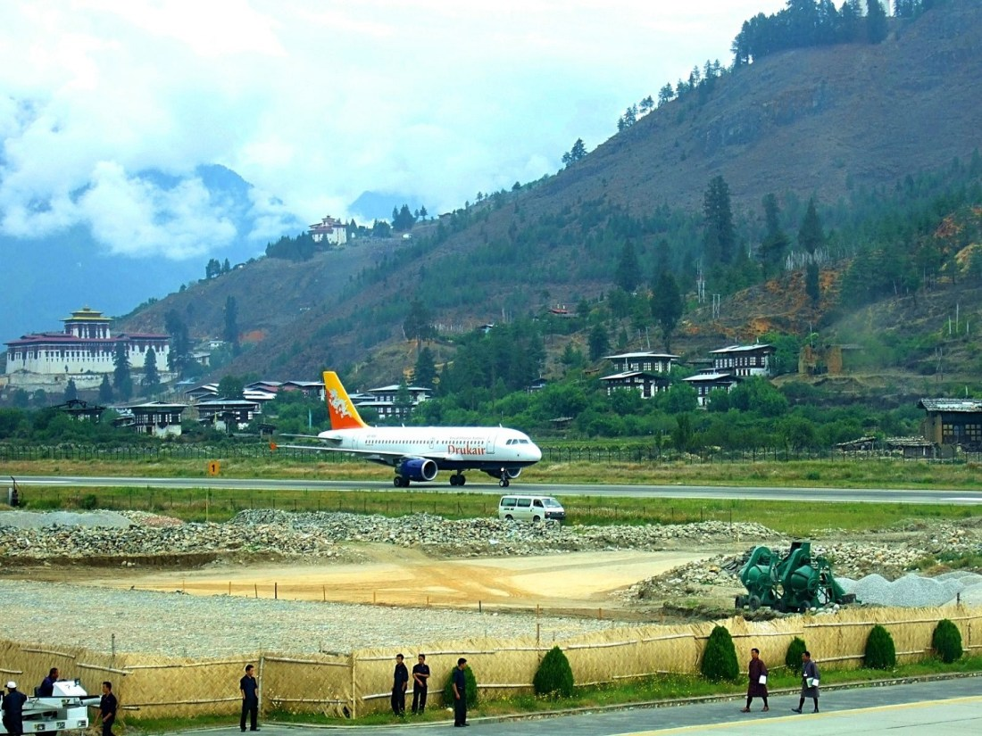 A plane taxis at the Paro airport