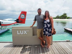 Couple arriving at LUX South Ari Atoll Resort