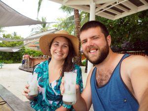 Couple having cocktails at LUX Maldives