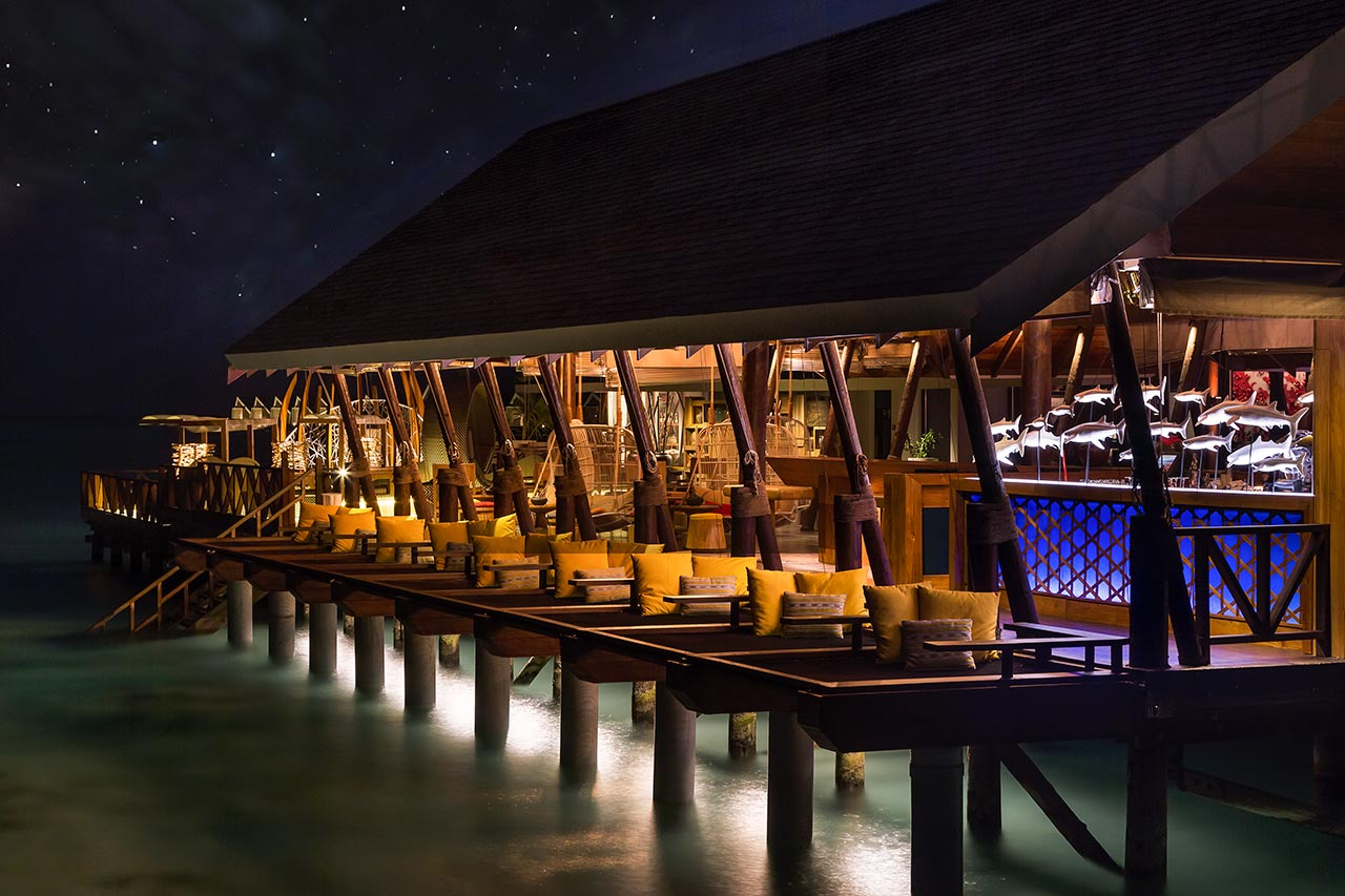 East Bar at Night LUX Maldives