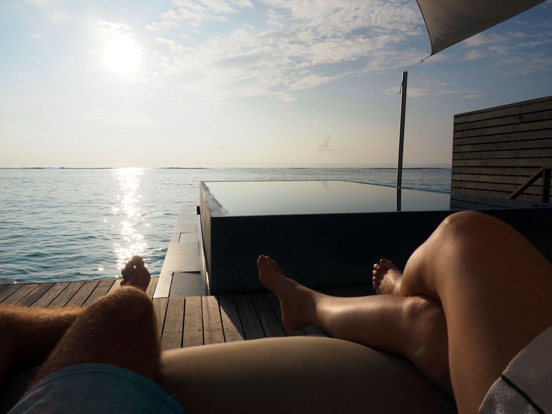 Sunrise in Maldives from water villa