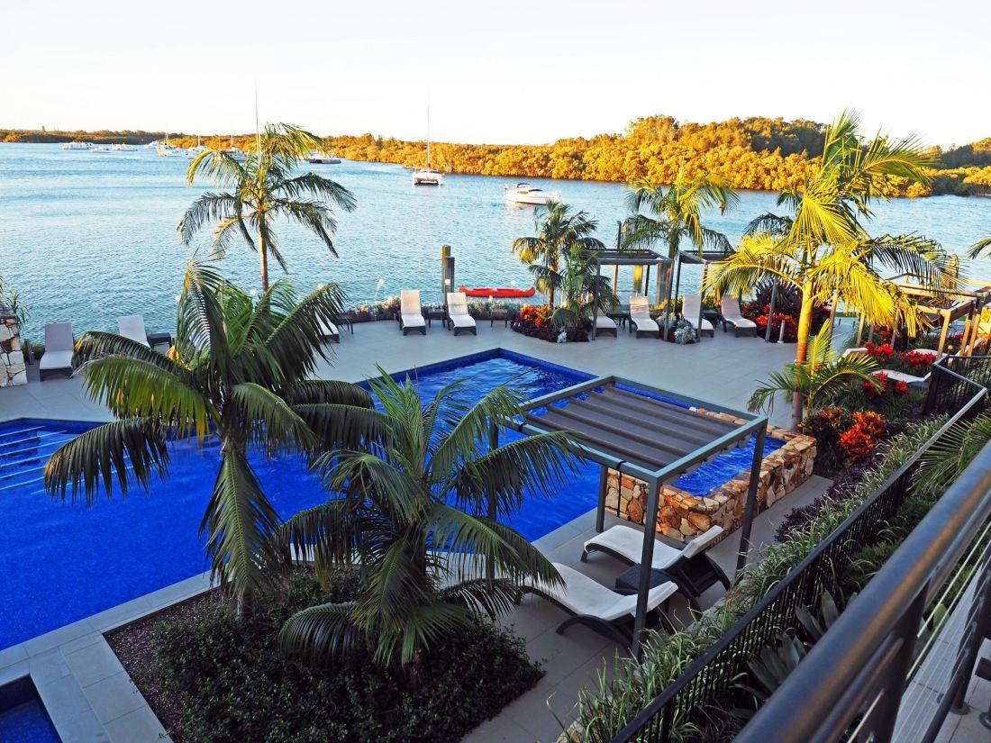 Pool and river views Sails Port Macquarie