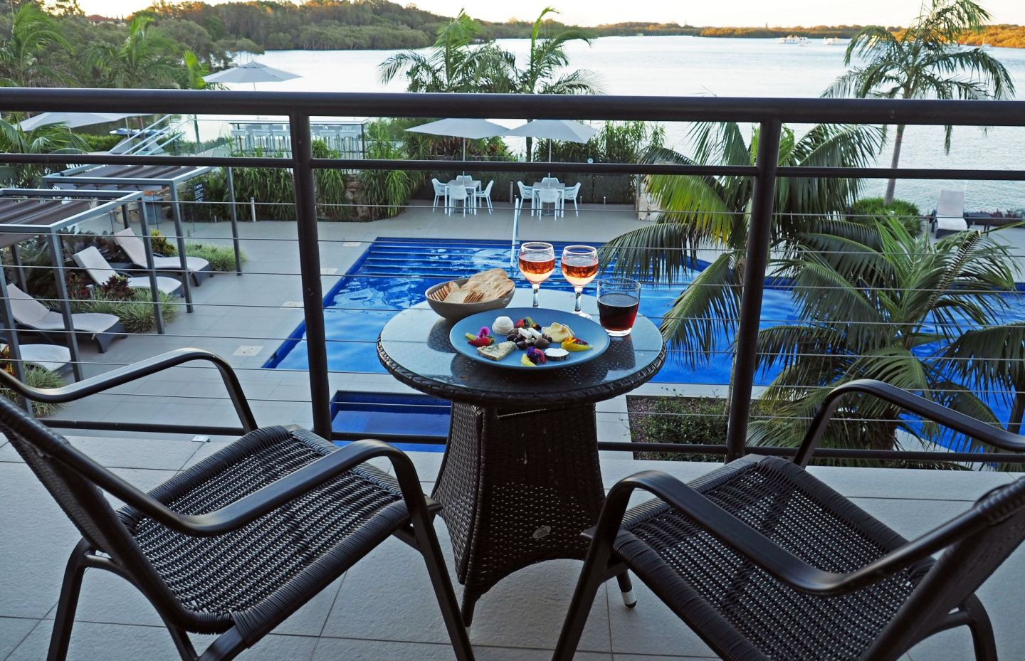 Wine and cheese on balcony Sails Port Macquarie