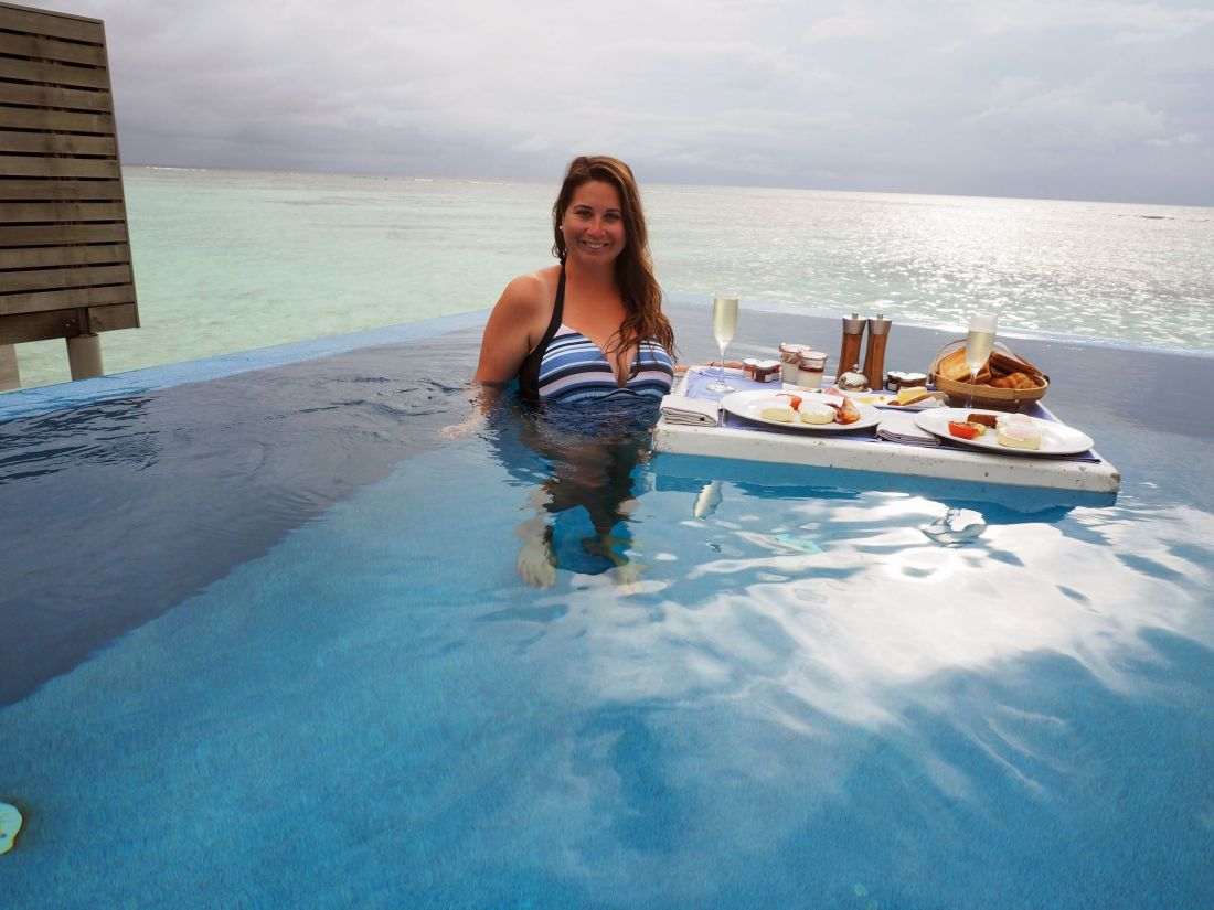 Simone with Floating Breakfast LUX South Ari Atoll