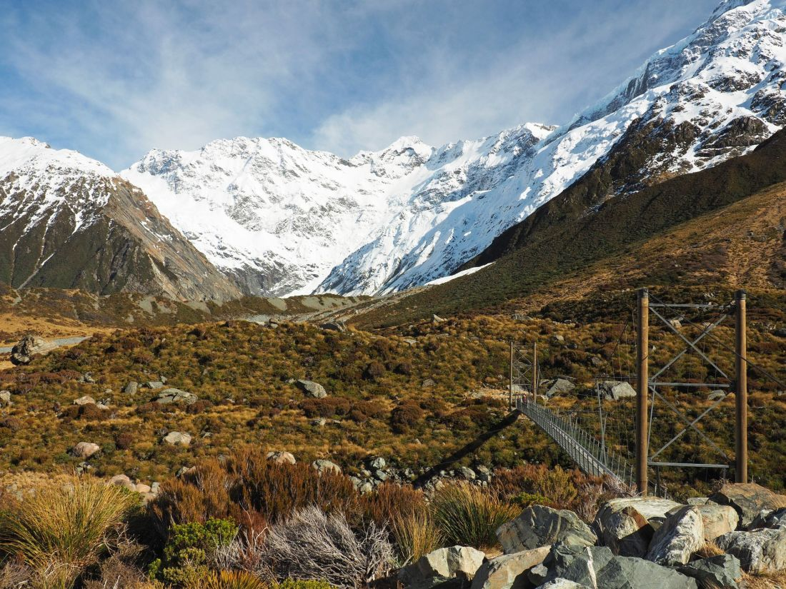 Bridge with scenery Hooker Valley Track