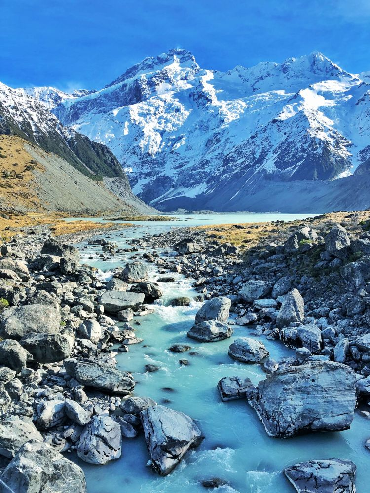 Hooker Valley Stream and Mountain