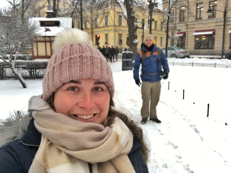 Simone and Dan in Helsinki in winter