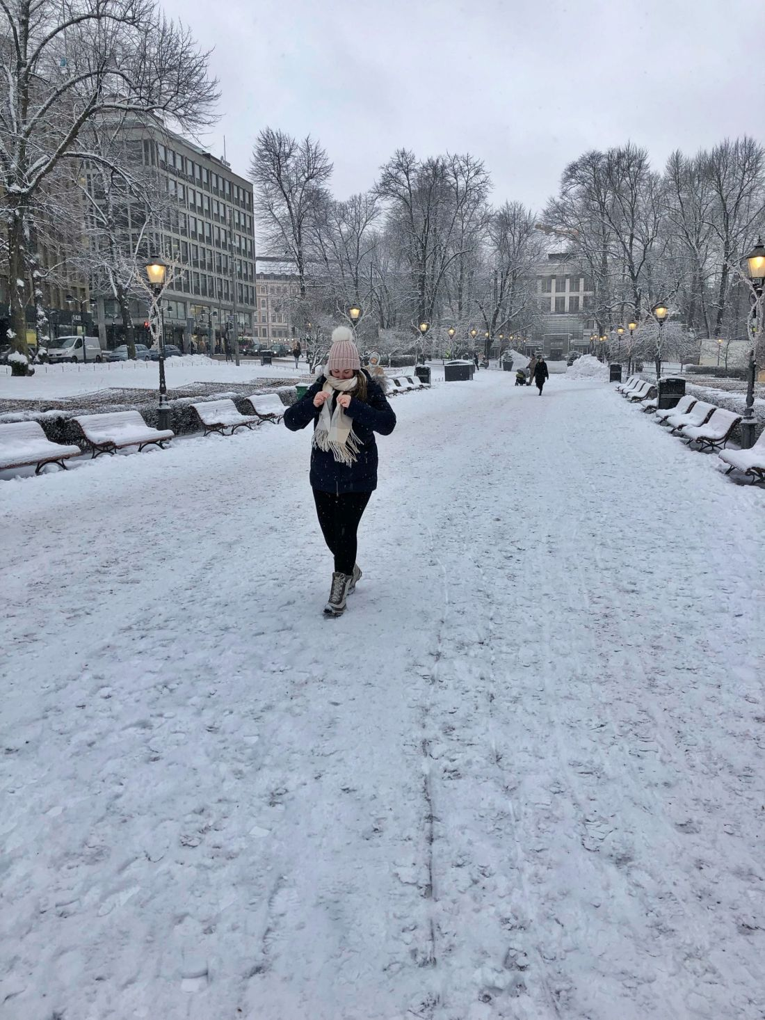 Simone exploring Helsinki in the snow