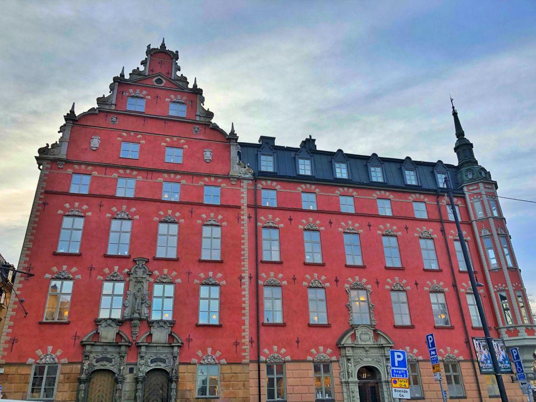 Red building Gamla Stan Stockholm