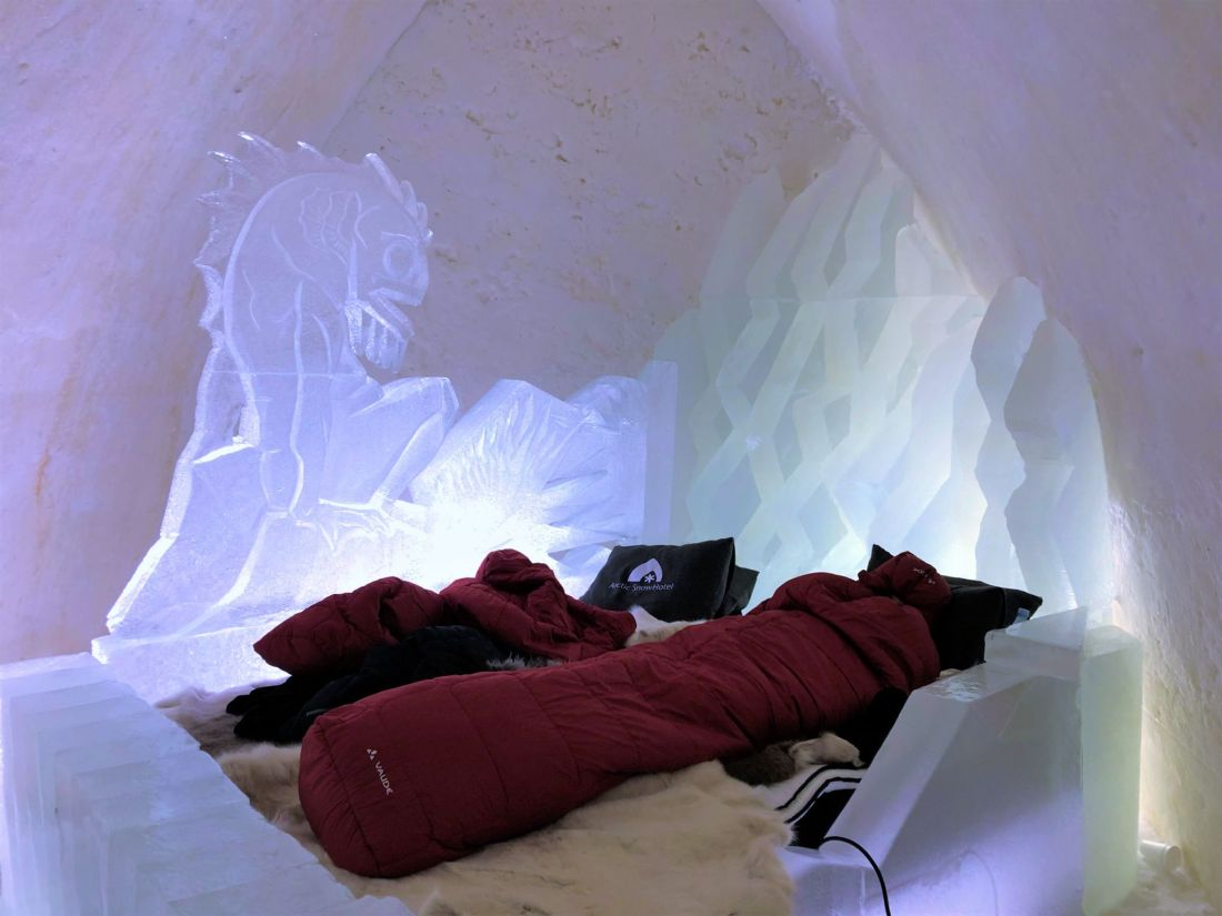 Sleeping in Snow Suite at Arctic SnowHotel Rovaniemi
