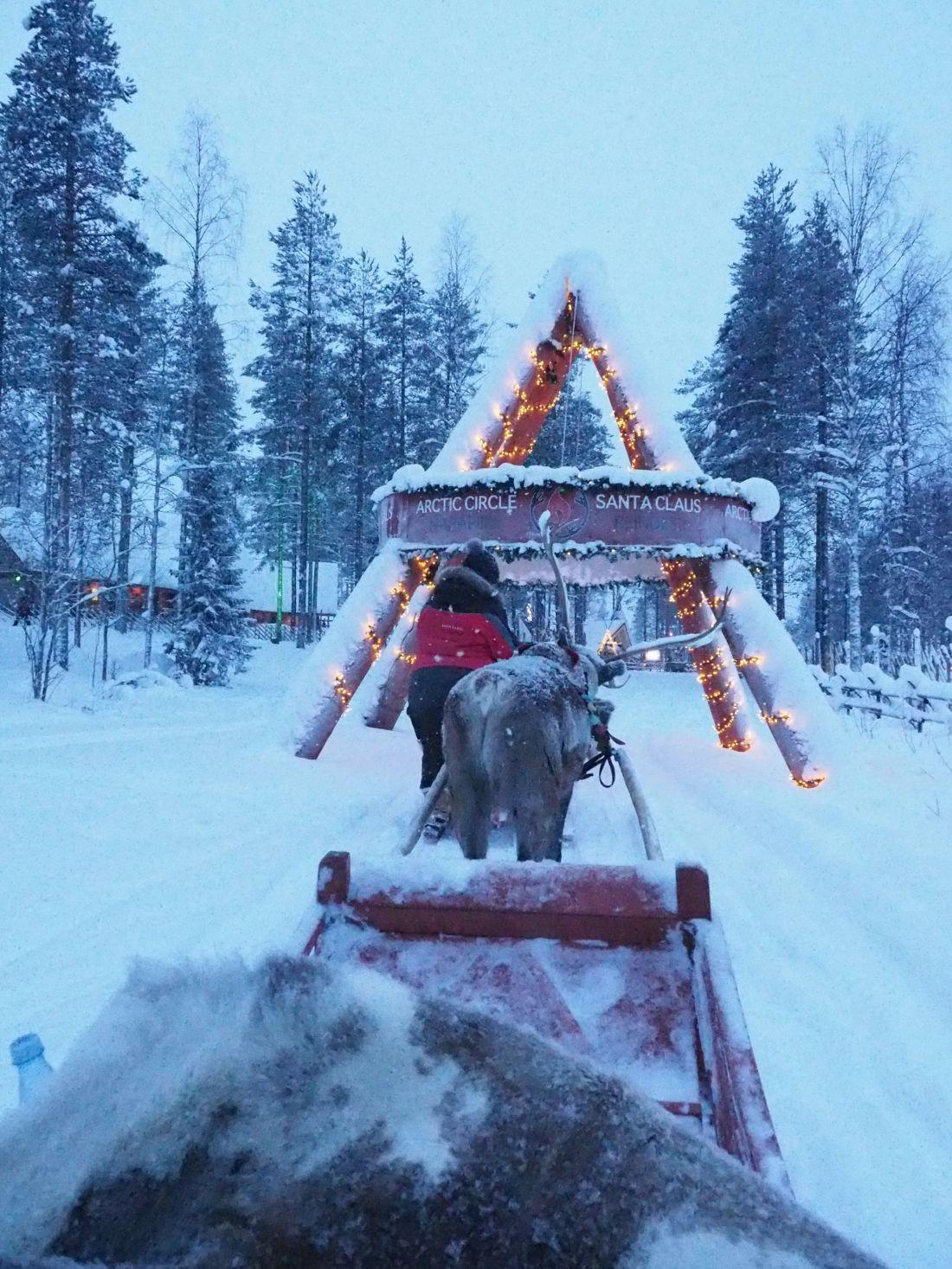Reindeer ride Santa Claus Village Rovaniemi