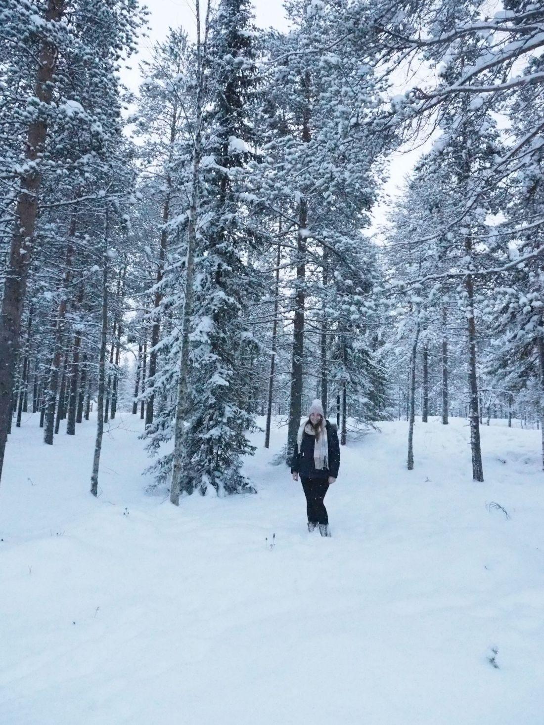 Simone in forest at Santa Claus Village Rovaniemi