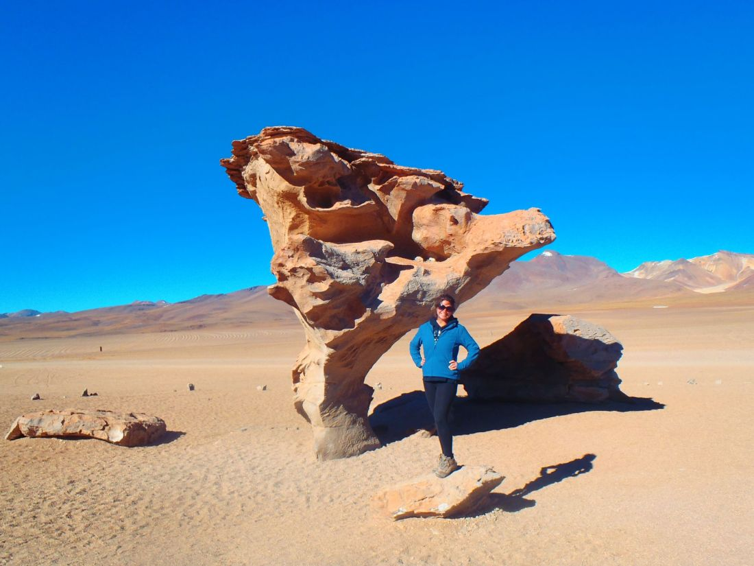 Simone with rock formations Atacama Desert