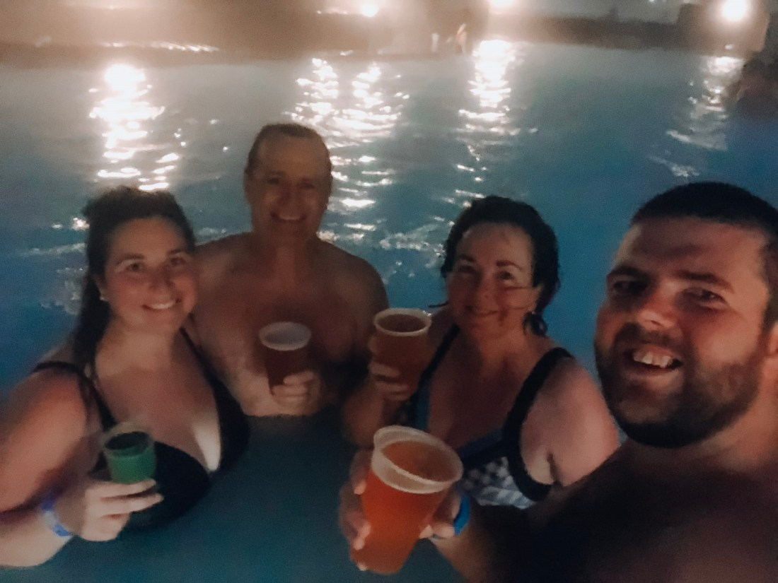 Family in Blue Lagoon with Drinks