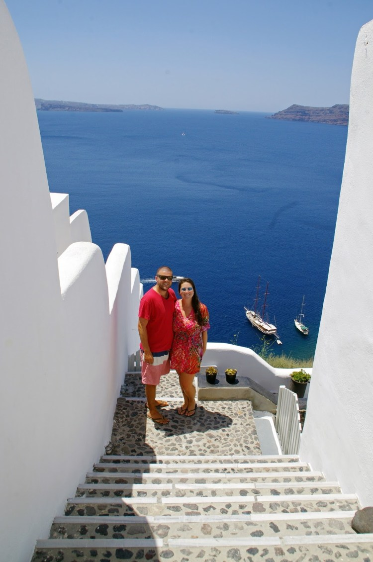 Simone and Dan in Santorini
