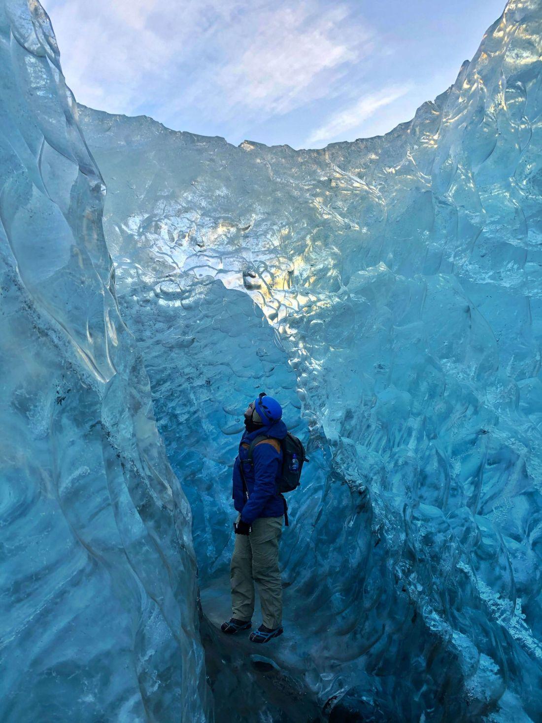 Dan standing in Ice Cave Vatnajokull Glacier Tour