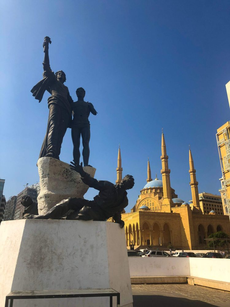 Beirut Mosque and Martyr Statue