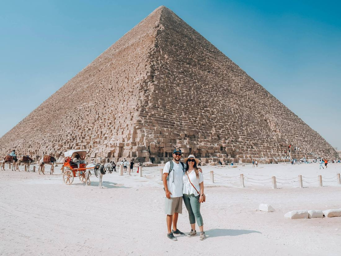 Simone and Dan in front of Great Pyramid