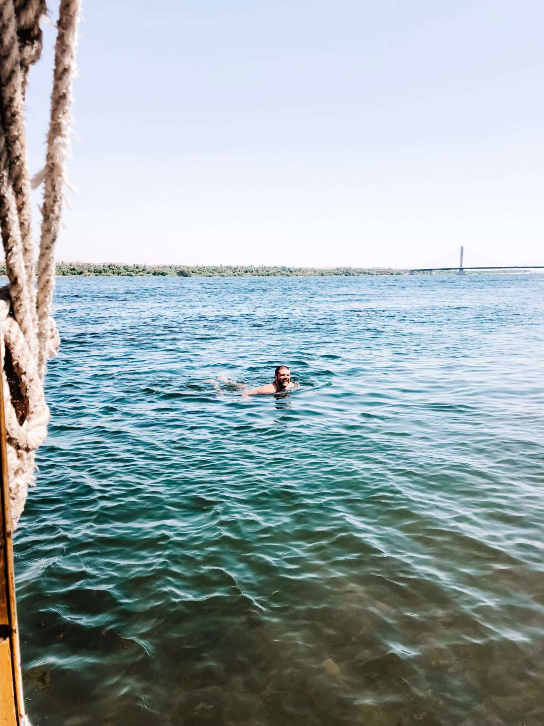 Dan swimming in the Nile