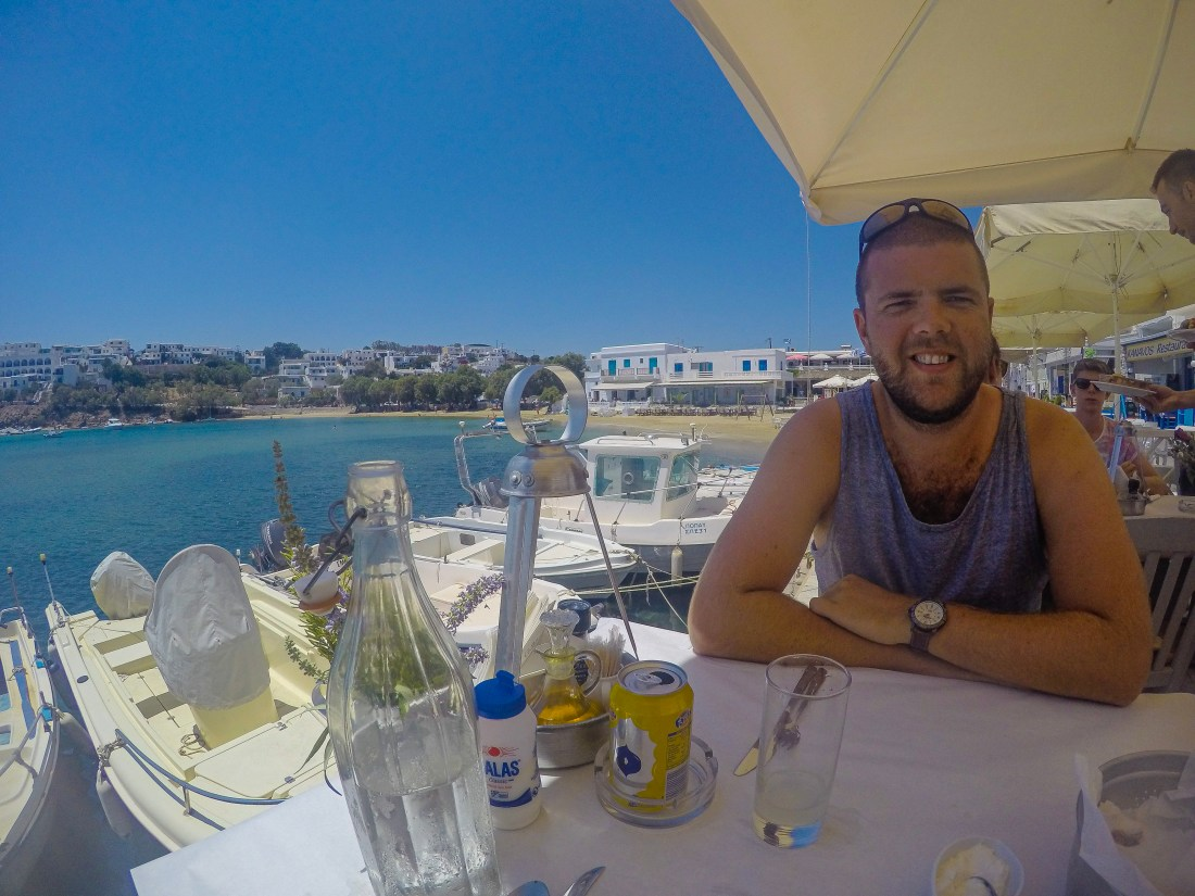 Dan at lunch in Piso Livadi Paros