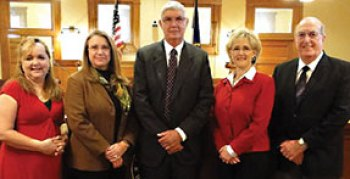 Williamson County Commissioners Court. Judge Dan Gattis (center) and Commissioners (left to right) Lisa Birkman, Cynthia Long, Valerie Covey, Ron Morrison