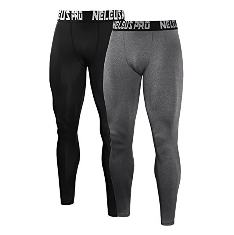 Neleus Men's 2 Pack Compression Pants Sport Tight Leggings