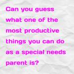Can you guess what one of the most productive things you can do as a special needs parent is?