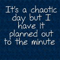 It's a chaotic day but I have it planned out to the minute