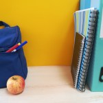 School bag and books