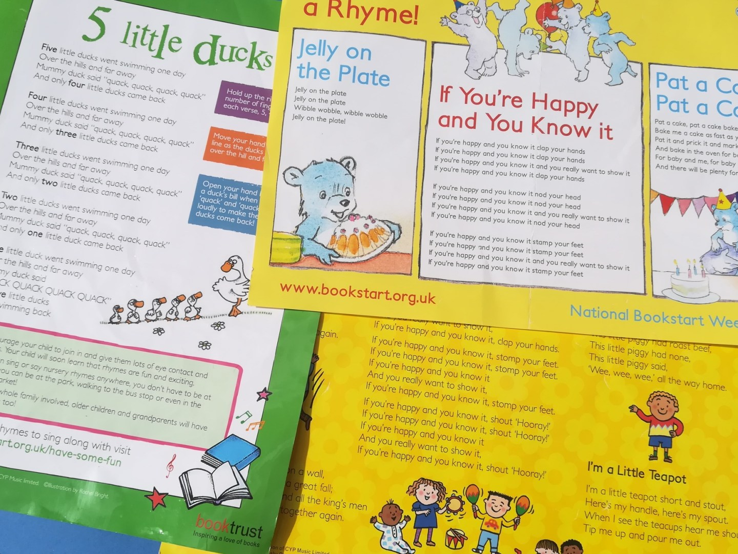 Music and autism, Bookstart nursery rhyme sheets