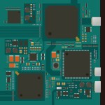 electric circuit board, various IC chips and electronic components
