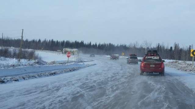 Traffic jam on the Alcan Highway.