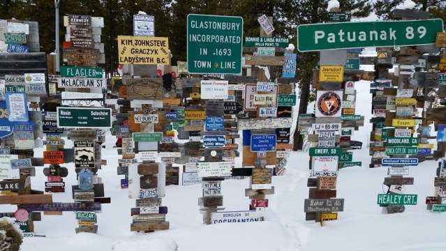 """The famous """"signpost forest"""" in Watson Lake, Yukon."""