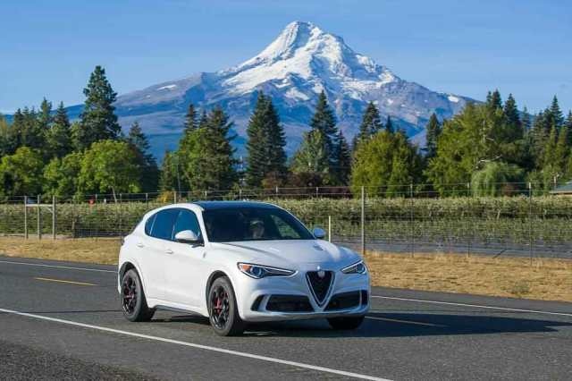 2019 Alfa Romeo Stelvio Quadrifoglio near Mt. Hood during Run to the Sun.